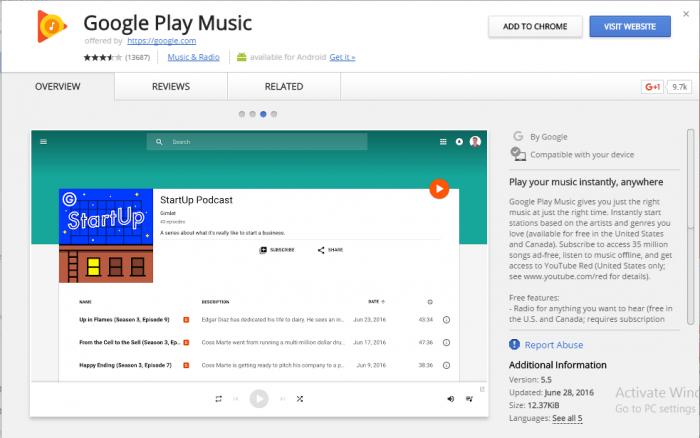 Google Play Music for Chrome