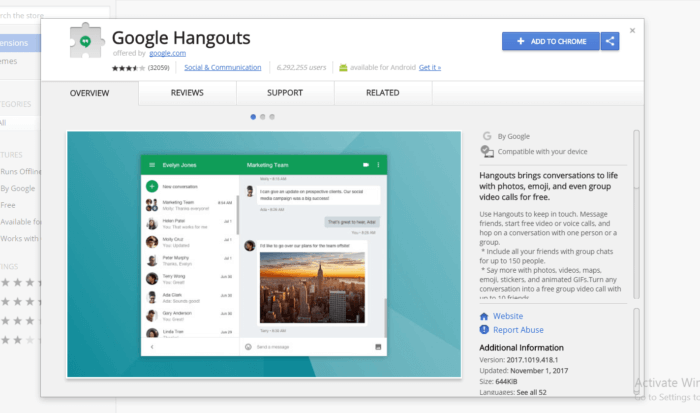 Google Hangouts for PC
