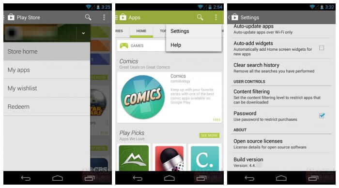Google Play Store on Android Using Homepage