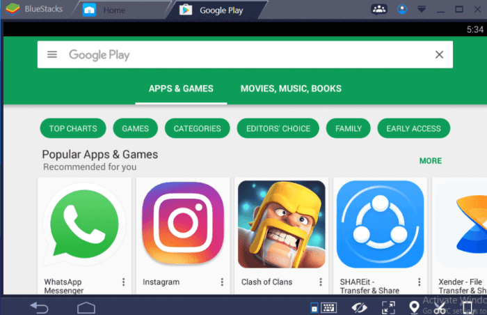 Google Play Store for PC using Bluestacks